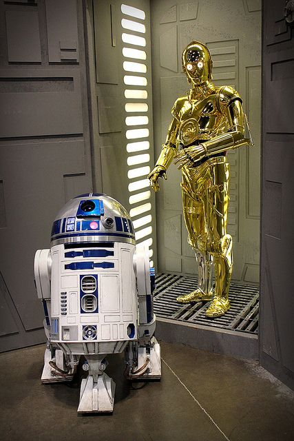 R2-D2 and C-3PO...Artificial Intelligence is often seen in Science Fiction dealing with off world exploration as a supplement to human characteristics.