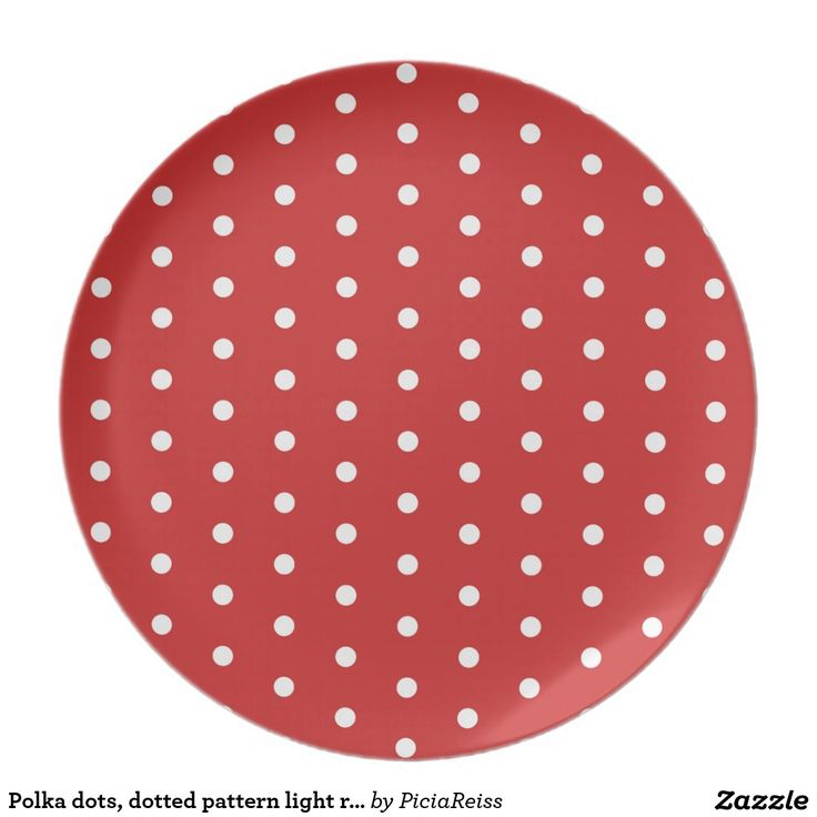 Polka dots, dotted pattern light red theme circles plate
