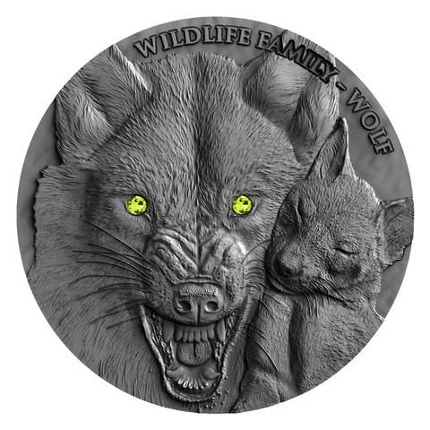 2017 Niue 1 Ounce Wildlife Family Wolf Ultra High Relief Silver Coin w Swarovski and Antique Finish