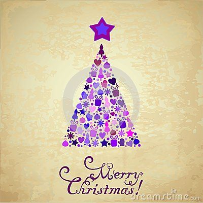 Vector image of christmas card on a paper background with a christmas tree and merry christmas text