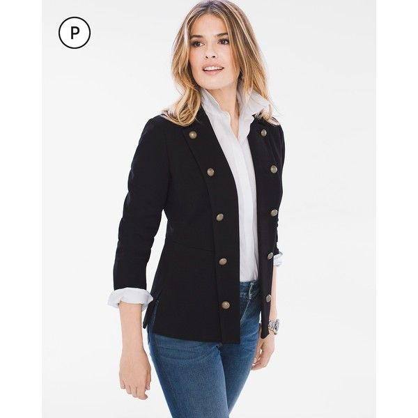 Chico's Petite Ponte Military Blazer ($139) ❤ liked on Polyvore featuring outerwear, jackets, blazers, black, petite, petite blazer, long sleeve jacket, ponte blazer, military-style blazer and blazer jacket
