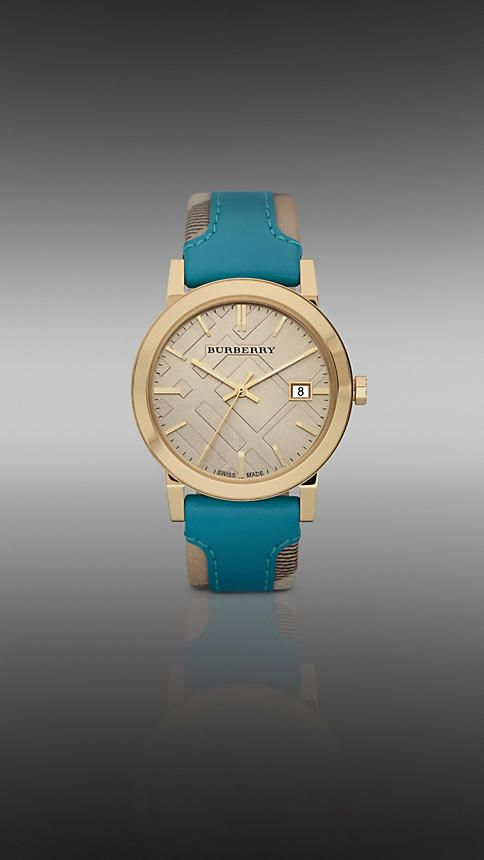 Burberry !Check Leather, 38Mm Goldplat, Burberry Watches, Goldplat Watches, Gold Plat Watches, Leather Straps, Haymarket Check, 38Mm Gold Plat, Accessories