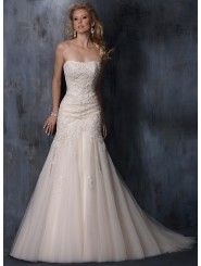 Lace Strapless Dipped Neckline A-line Wedding Dress