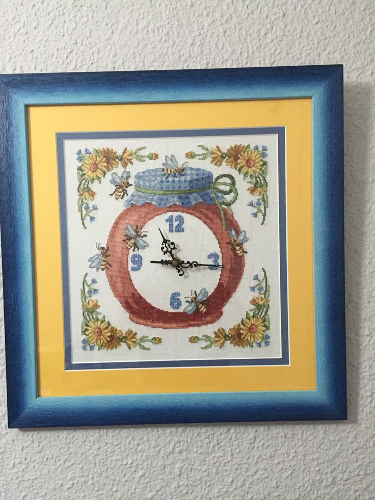 #reloj #cocina #clock #kitchen #miel #honey #puntodecruz