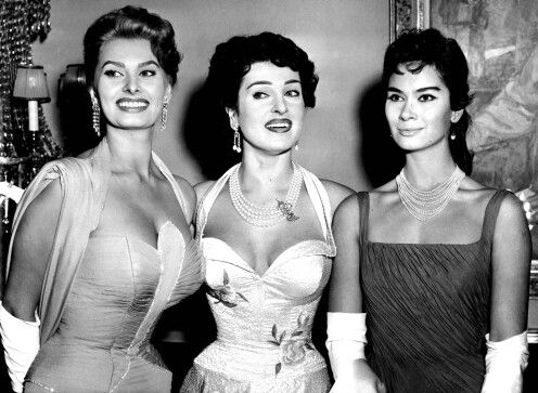 Sophia Loren, Silvana Pampanini and Lea Massari at the Stoccolma in the 1955…