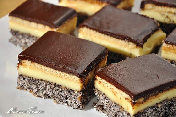 O alta prajitura cu mac a facut ravagii la noi.Are biscuiti si crema de vanilie, si glazura de ciocolata :P, ceea ce o face absolut irezistibila!!!!!!!!!!! Ingrediente: Blat: – 8 albusuri – 200 g zahar – 100 g mac macinat – 100 g nuca de cocos – 4 linguri faina – 1 praf de copt …