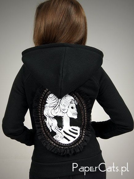 Black hoodie cameo Victorian Skeleton Steampunk by PaperCatsPL 933e7d2b0fc49