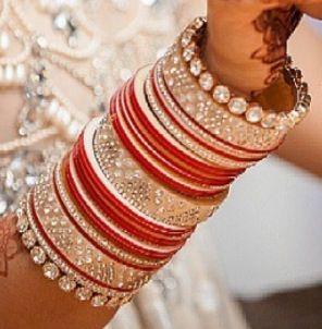 Red and silver diamond chura