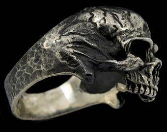 Skull Ring 925 Sterling Silver Mens Biker sieraden antieke