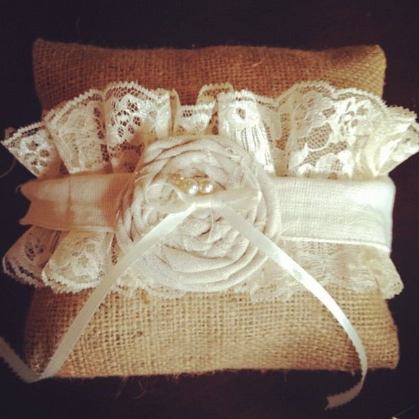 rustic Burlap and Lace Ring Pillow.