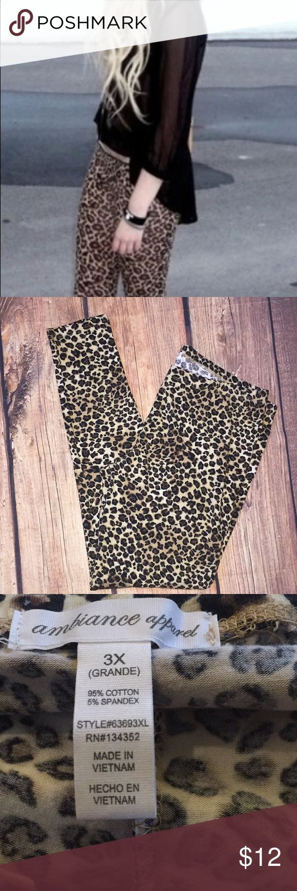NEW AMBIANCE Cheetah Tights Leggings plus Sz 3X NEW AMBIANCE Cheetah Tights Leggings plus Sz 3X or XXXL Ambiance Apparel Pants Leggings