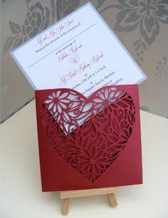 Heart Laser Cut Wallet Wedding Invitation with insert - Red