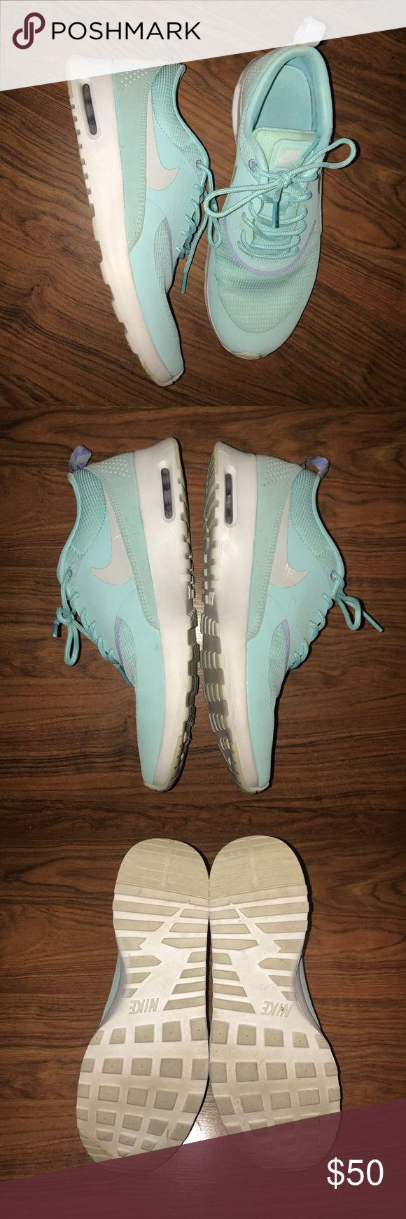 Tiffany Blue Nike Sneakers Tiffany blue Nike sneakers! Gently worn! Only a few times! I'm incredible condition! Narrow! No low ball offers! Small accents of lavender Nike Shoes Sneakers