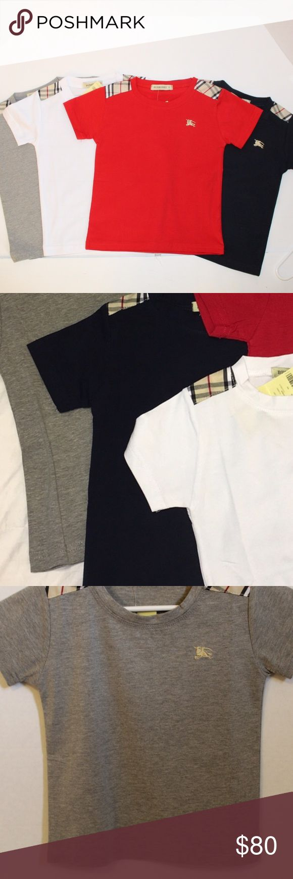 Set of 4 Boys Burberry T-Shirts 4 shirts are in this bundle.  If you have questions about sizing please just ask!  NEW WITH TAGS 100% Cotton   Sizes available: 2T, 3T, 4T, 5T, 6 & 7 Years   I SHIP SAME DAY Burberry Shirts & Tops