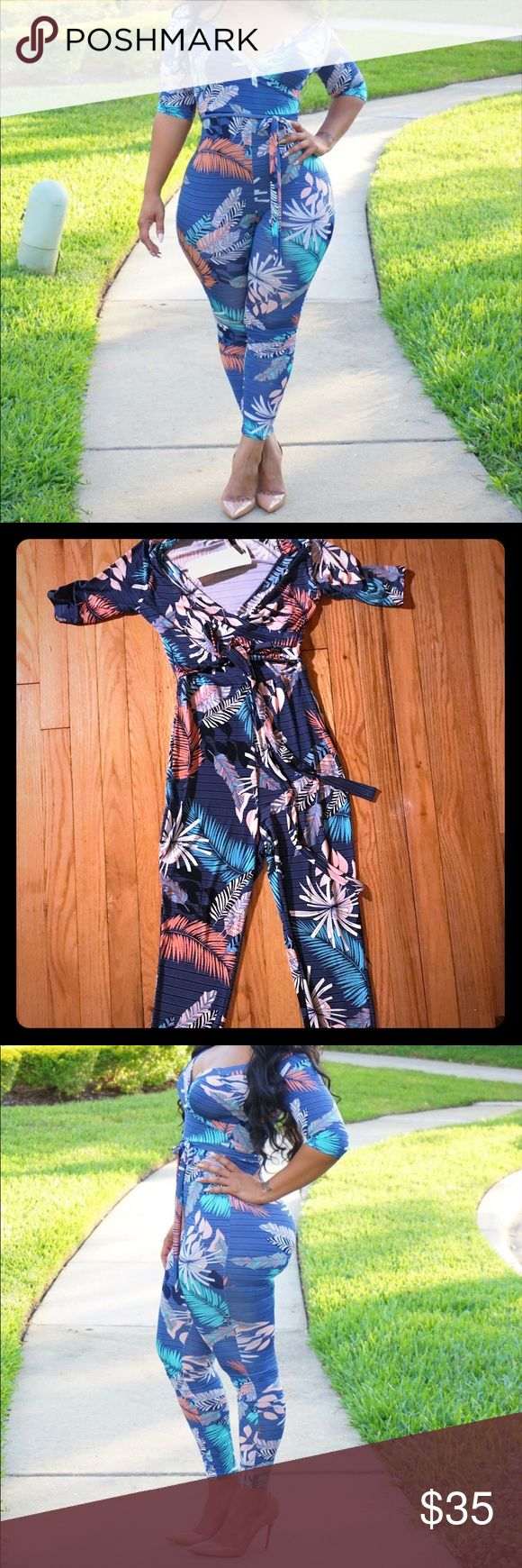 Spring is Coming Multi-Color Jumpsuit Size M! Adorable jumpsuit, 3/4 sleeve, belted waist, 92% Polyester/ 8% Spandex, Never worn with tag Pants Jumpsuits & Rompers
