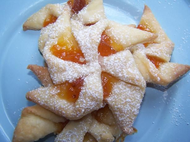 Authentic Hungarian Pastries using dried apricots, lots of butter and cream cheese!