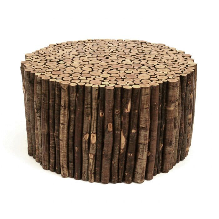 Table basse contemporaine en bois en mat riau de for Bois de recuperation decoration