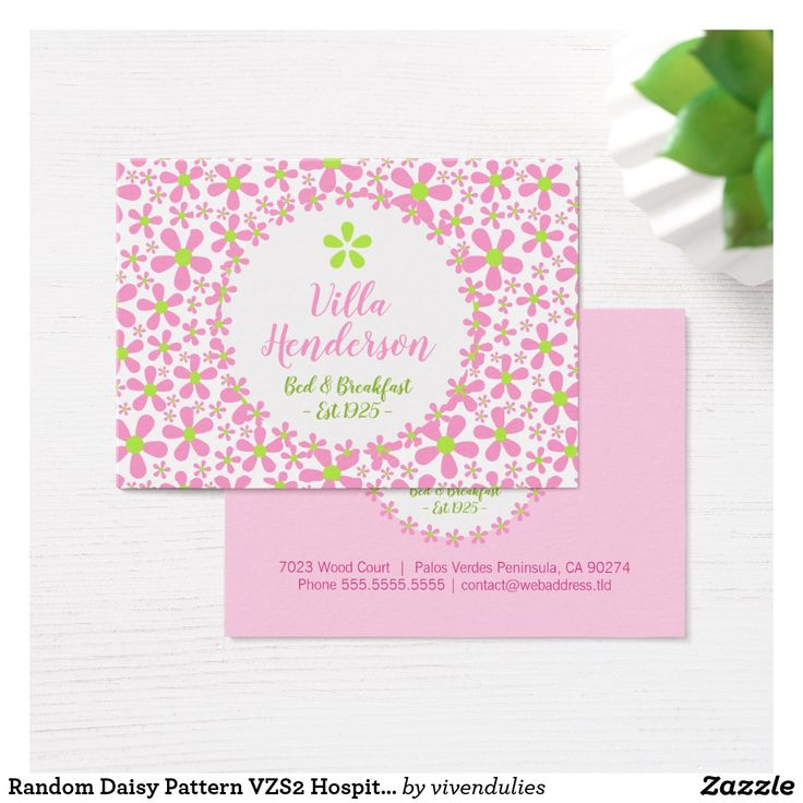 54 best zazzle collection business cards images on pinterest random daisy pattern vzs2 hospitality business card reheart Gallery