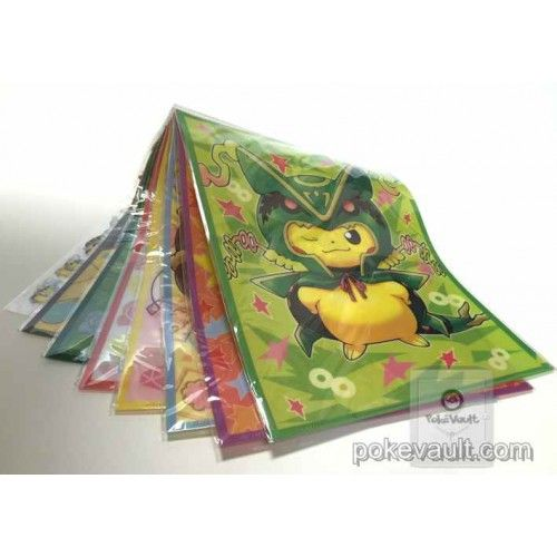 Pokemon Center 2016 Poncho Pikachu Series #2 Mega Gardevoir Gallade Mawile Rayquaza Diancie & Friends A4 Size Set of 8 Clear File Folders