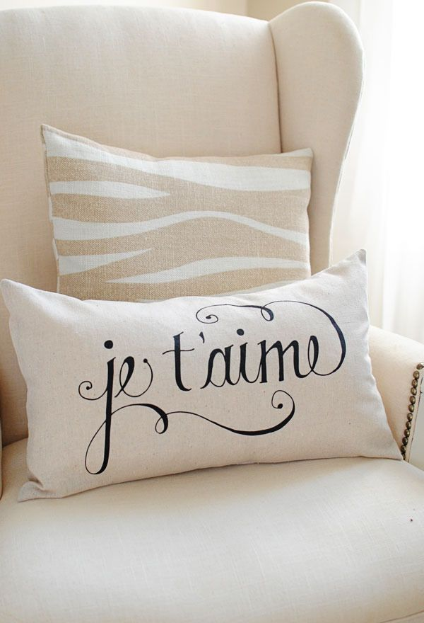 Je T'aime 12x20 Pillow Cover in Black