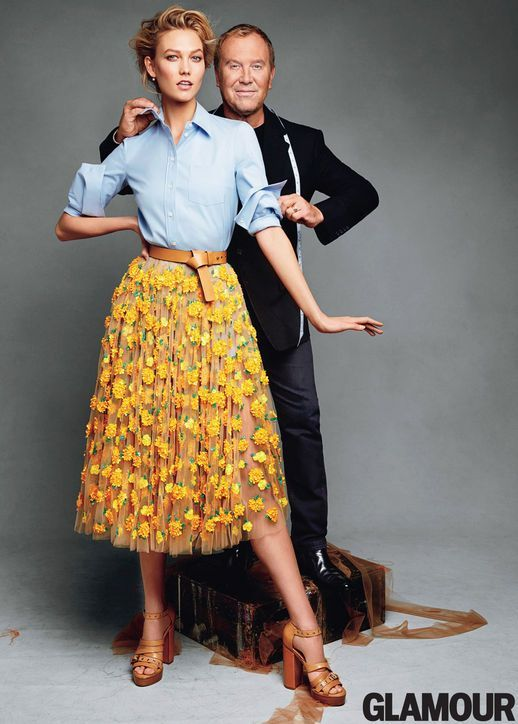 Karlie Klos wearing Michael Kors.  Demin shirt with floral midi skirt.