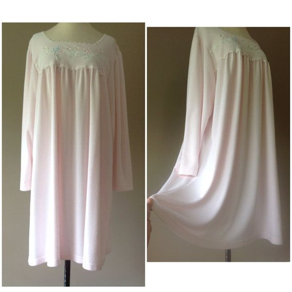 3X / Pink Cotton Nightgown / Plus Size Sleepwear / $28 with FREE Shipping