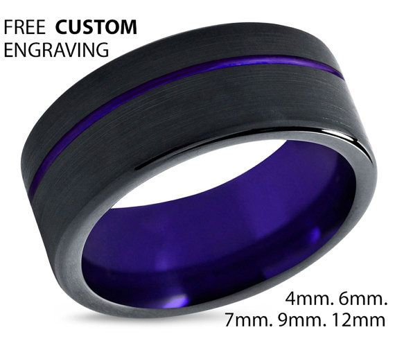 Tungsten Ring Mens Purple Black Wedding Band by BellyssaJewelry