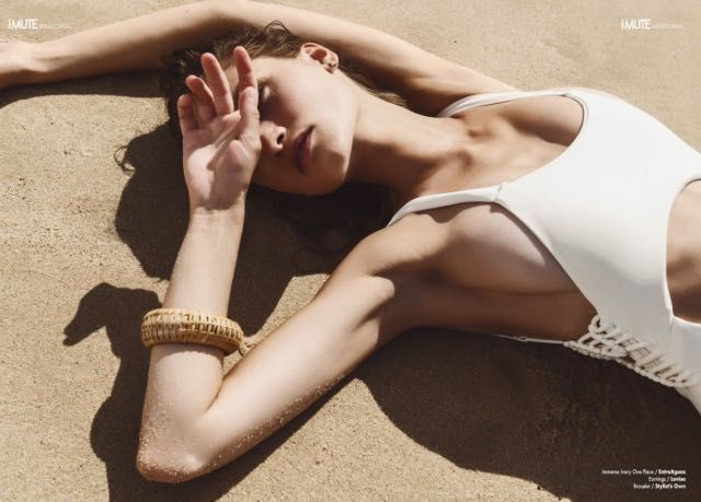 | Our gorgeous Entreaguas Immersed In Ivory One-Piece featured in iMute magazine @entreaguas_beachwear_aus | #Entreaguas #Woven #Beachwear