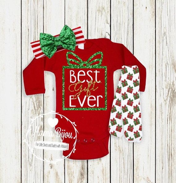 31f04f095 Christmas Baby Girl Outfit, Newborn Girl Coming Home Outfit Christmas, Best  Gift Ever, Baby Girl Clothes Winter, Take Home Outfit Christmas by mamabijou