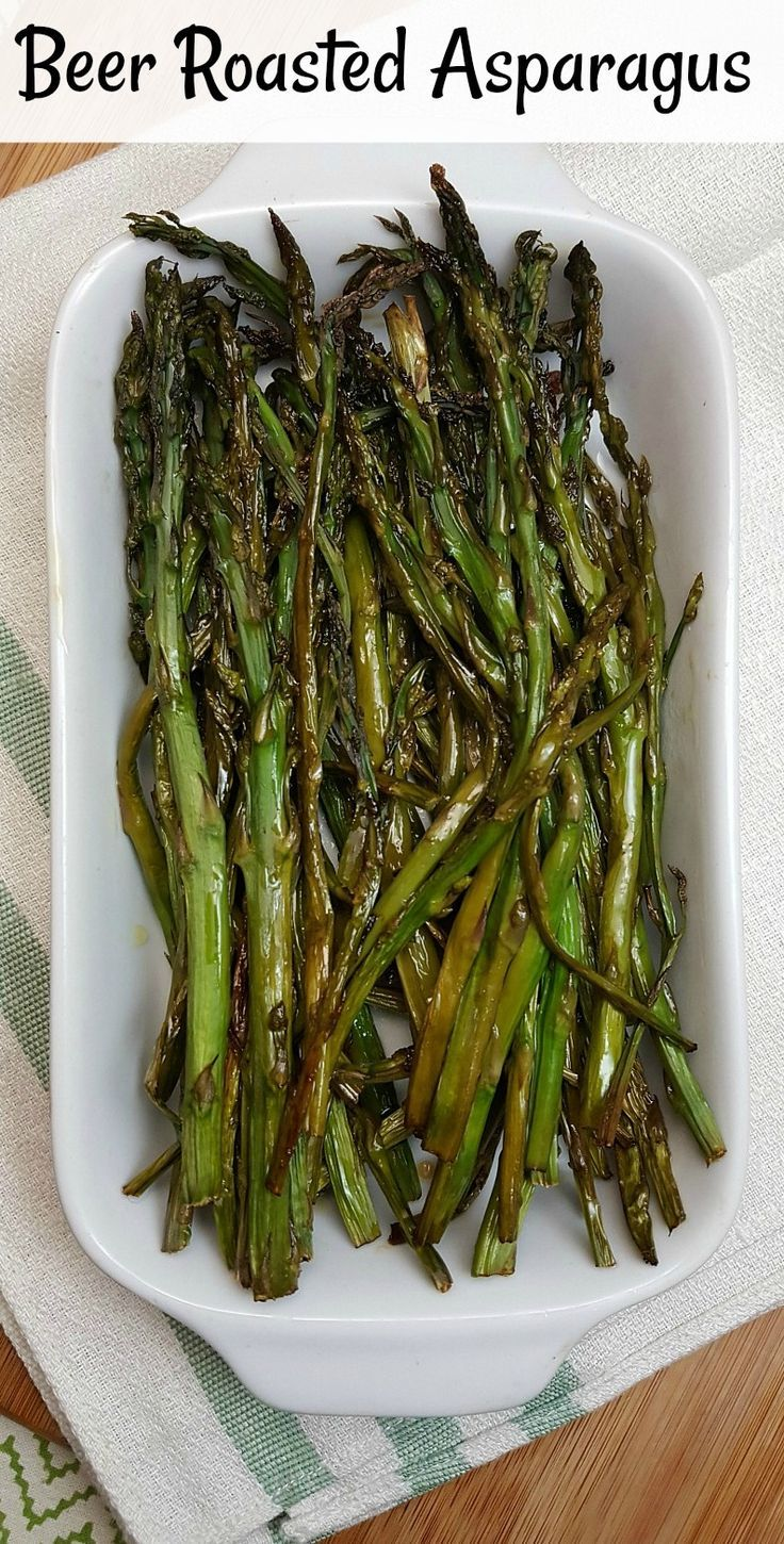 Beer Roasted Asparagus - Veggies marinated in craft beer for a side dish that is full of flavor