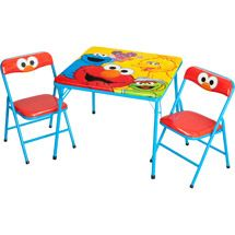 Bella likes this... I make her wooden chairs into a DIY project Elmo chairs. Walmart: Sesame Street Table and Chairs Set