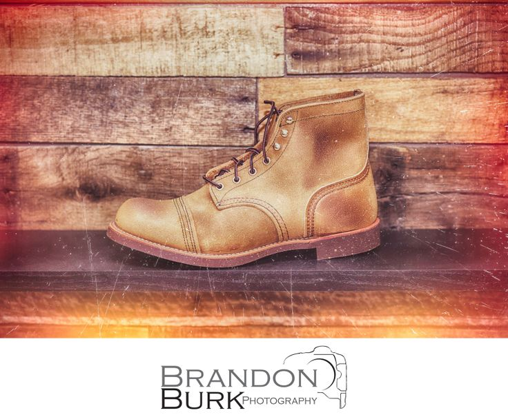 "Red Wing Shoes Heritage Boots - Photographed for local shoe store in Kaysville ""Shoeta"" #heritageboots #redwing #redwingboots #plankedwood #plankedwall #shoedisplay #boots #boot #shoes #mensboots"
