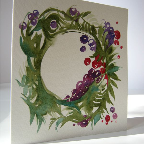 Christmas wreath with berries hand painted two fold for Painted christmas cards