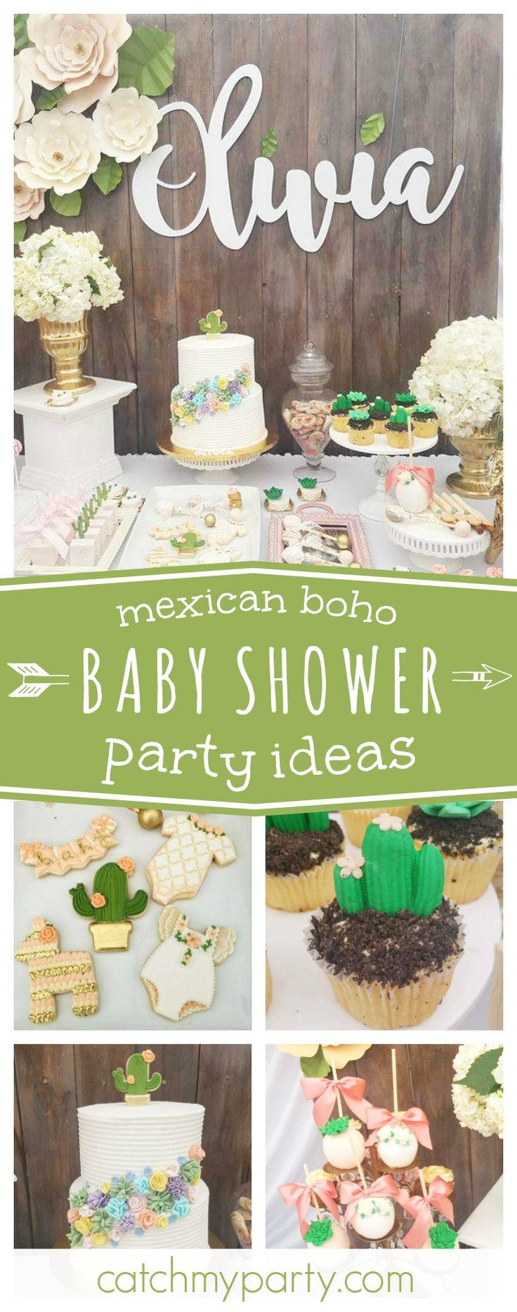You'll fall in love with this gorgeous mexican boho baby shower. The dessert table is beautiful!! See more party ideas and share yours at CatchMyParty.com