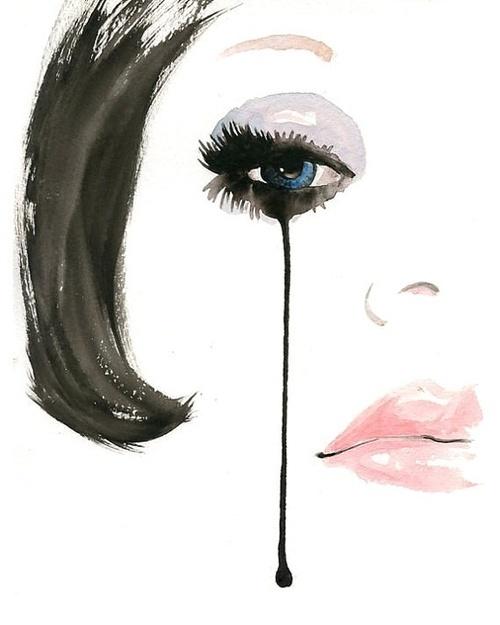 Running Mascara Drawing Painting (crying woman...