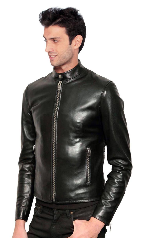 Mens skinny leather jacket