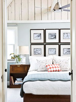 Artwork for Walls- Use framed prints to fill up blank space on the wall behind a bed, an arrangement that doubles as a headboard. To create this gridlike look, use square black frames and hang them close together, leaving about 2-3 inches between the frame edges.