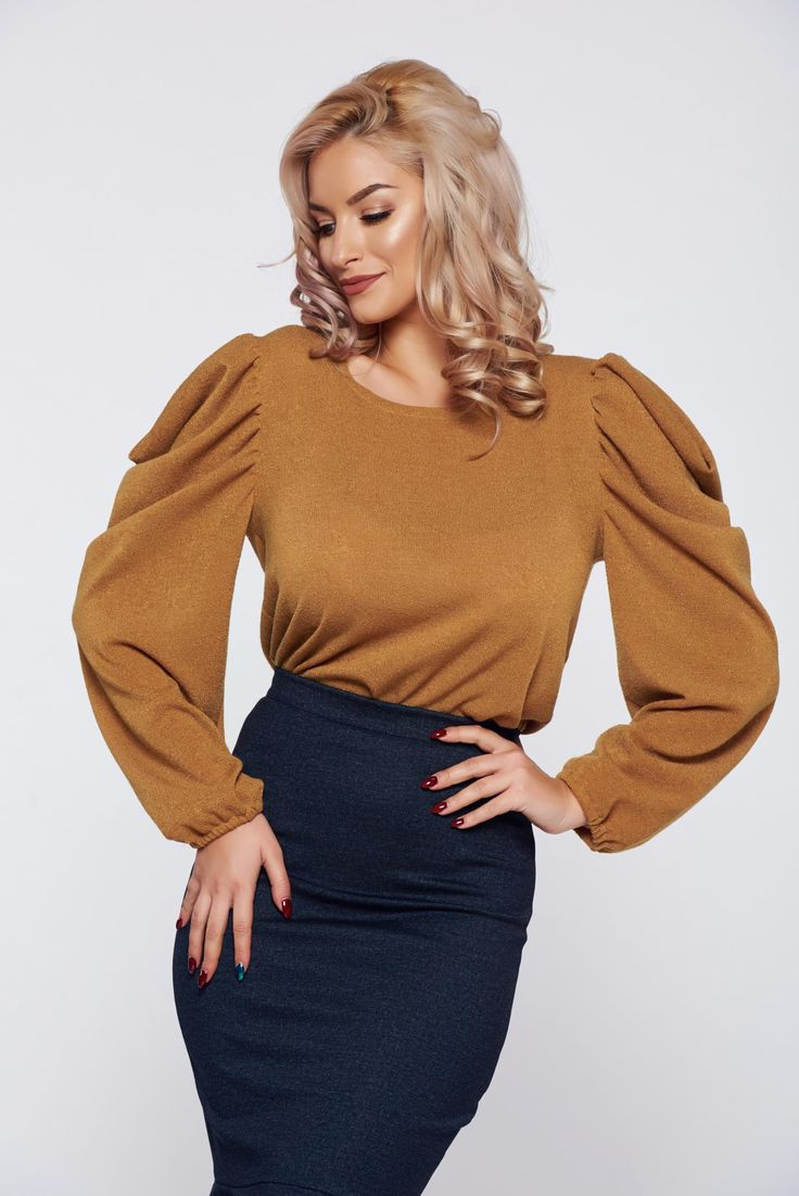 StarShinerS FALL in love yellow elegant knitted sweater wrinkled sleeves, FALL in love, women`s sweater, wrinkled sleeves, large sleeves, long sleeves, knitted fabric