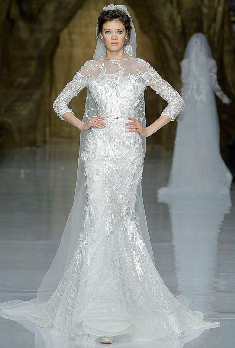 """Cygnus"" tulle and Chantilly lace mermaid wedding dress with a bateau neckline and three-quarter sleeves, Pronovias"