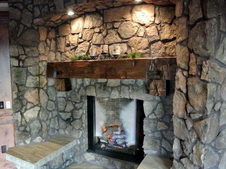 Rustic mantel ideas 18 photos of the how to build rustic for Rustic rock fireplace designs