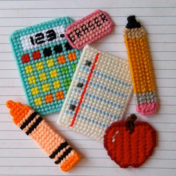 """Plastic Canvas: Back to School Basics Magnets (set of 6 -- apple, calculator, crayon, eraser, loose leaf and pencil)  -- """"Ready, Set, Sew!"""" by Evie"""