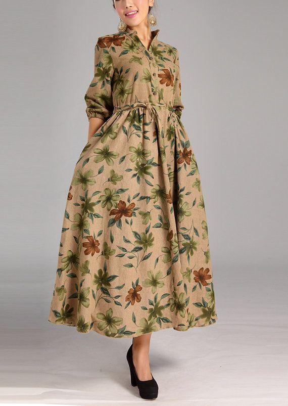 Coffee grounding flower dress Linen Cotton dress women dress fashion dress Long sleeve dress