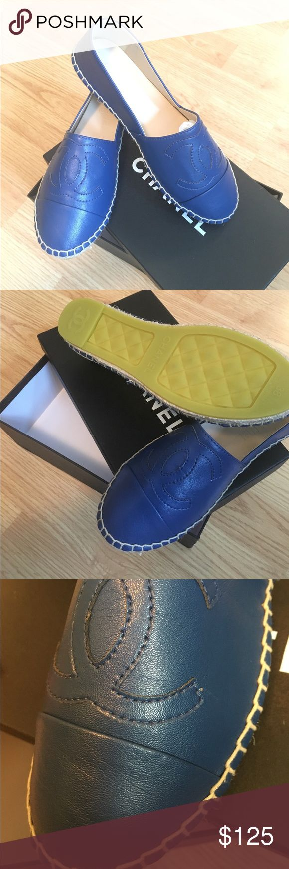 FOR SALE JUST ASK ESPADRILLES leather espadrilles in cobalt blue. Comes with box. CHANEL Shoes Espadrilles