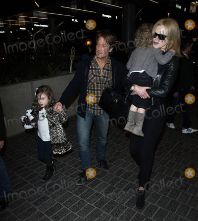 Nicole Kidman, Keith Urban and daughters at LAX