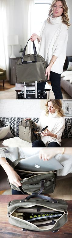 """""""The OMG"""" - lightweight travel bag, tech friendly laptop tote, and stylish gym bag. Designed by Lo & Sons - loandsons.com. #loandsons"""
