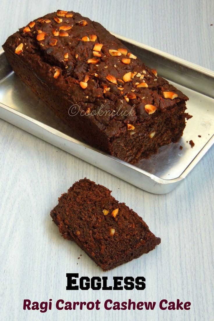 Eggless Ragi Carrot Cashew Cake/Eggless Fingermillet Cake with ...