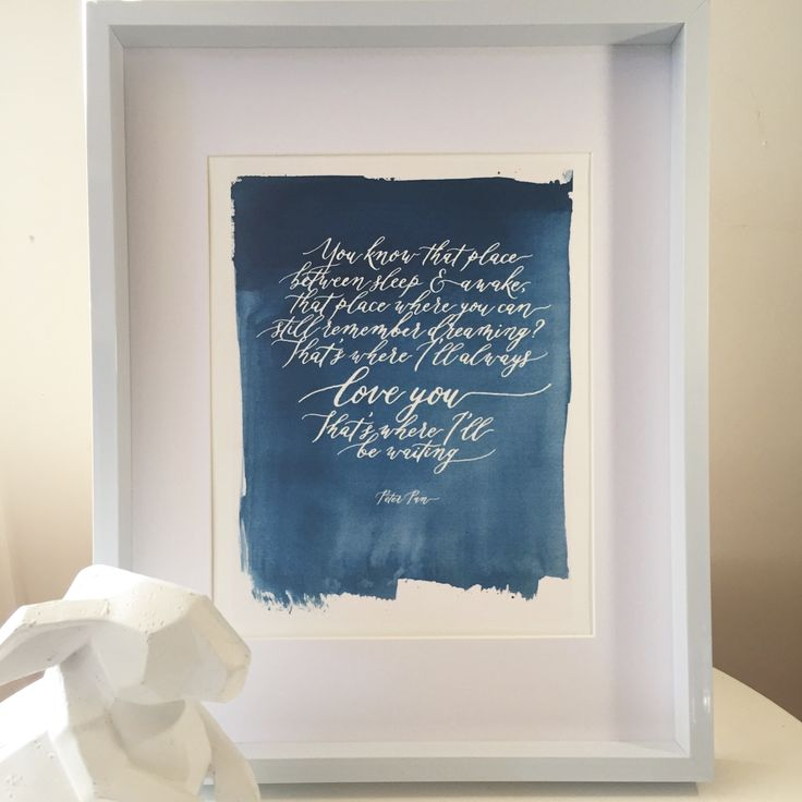 Watercolour and Calligraphy Print for nursery wall. A dreamy Peter Pan quote.