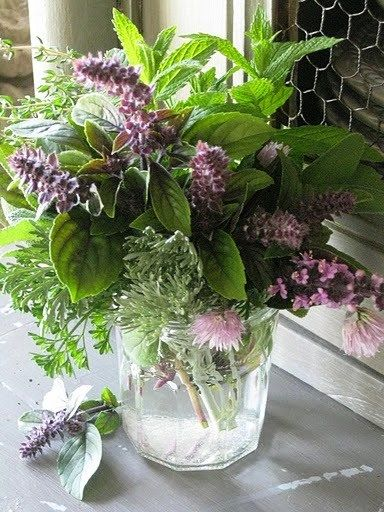 Herb Bouquet:  I love the idea of using herbs for our wedding centerpieces.  There are so many shades of green and some shades of purple.  I think they could be really cool in galvanized buckets or boxes with burlap wrapped around them.  Plus, they would smell awesome. ~ sjo