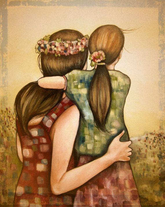 Madre e hija-mejor amigos con arte de la flor corona imprimir