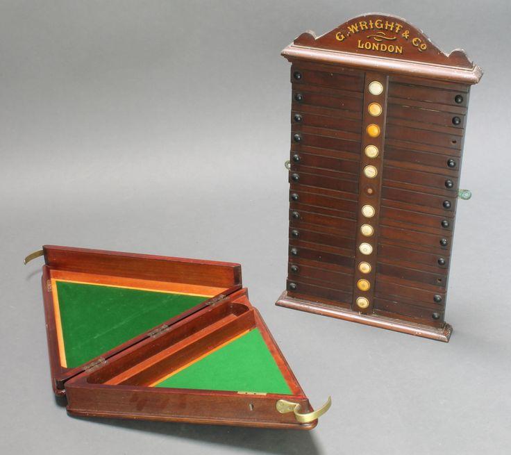 "Lot 186, A George Wright & Co. London Edwardian mahogany arch shaped billiard score board 26""h x 14 1/2""w together with a Burroughes & Watts Ltd triangular shaped mahogany billiard ball box (empty) 4"" x 19"" x 16 1/2"" est £60-80"